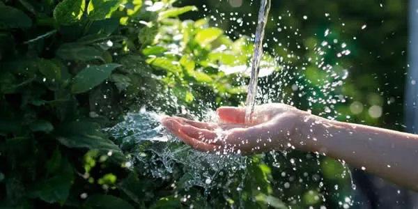 Water running on hand